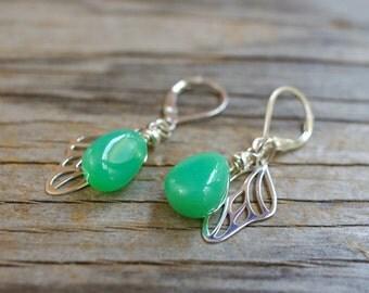 Natural chrysoprase earrings. Sterling silver butterfly wing & apple green gemstone earrings. Smooth chrysoprase briolette earrings.