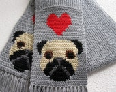 Pug dog scarf. Gray knit and crochet scarf with fawn pugs and red hearts