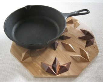 Wood Trivet.  Dimensional wooden hotpad. Woodwork centerpiece. Wood kitchen decor