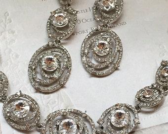 Bridal jewelry set, bridal crystal bracelet , bridal earrings, Austrian Crystal bracelet earrings set, bridal bracelet, wedding jewelry