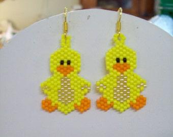 Beaded Yellow Ducky Bird Earrings Soulthwestern, Boho, Hippie, Brick Stitch, Peyote, Loom Great Gift