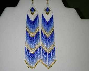 Native American Style Beaded Blue Waterfall Earrings Shoulder Dusters Southwestern, Boho, Gypsy, Brick Stitch, Peyote Great Gift