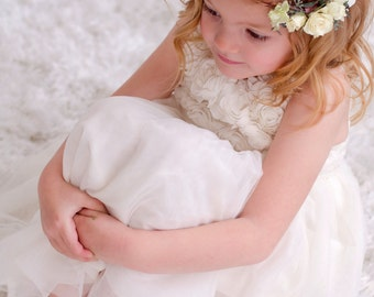"Flower Girl Crown 4-6 Years  19"" / Hair Wreath - Real Dried Cream Roses Hydrangea Eucalyptus Hair Accessory Wedding / Photo Shoot"