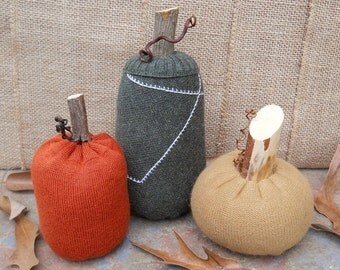 Sweater Gourd with Real Stick Stem - Eco-friendly Stuffed Pumpkin Gourd Fall Decoration