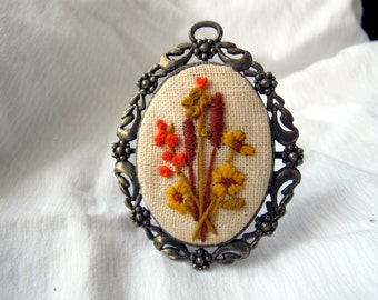 Vintage framed orange and gold embroidered picture / Orange and yellow flower hand made needlepoint picture