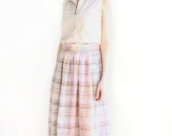 pastel woven plaid preppy whimsical vintage high waisted skirt
