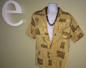 Vintage Men's Hawaiian Tiki Shirt Brown & Gold Textured Silk Brocade Hawaiian Aloha Shirt Coconut Buttons Hawaii Tribal Print Size Large