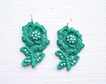 Emerald Green Flower Lace Statement Earrings