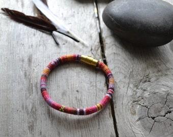 woven bracelet // soft jewelry // pink tribal pattern