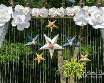 Wedding decor, hanging paper floral stars