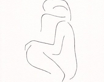 Abstract erotic bedroom art. Minimalist couple line art. Romantic, sexy lovers illustration. Black and white original ink drawing.