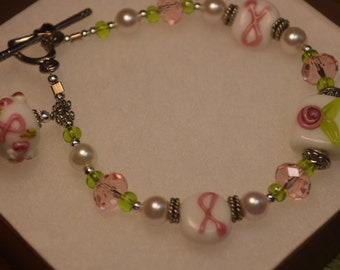 Clearance SALE Breast Cancer Awareness Pink Ribbon Lampwork Bracelet 50% Off