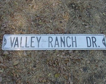 "Vintage White Washed TIN Road Sign Chippy Shabby Black Letters 36"" x 6""  Valley Ranch Dr Street Sign"