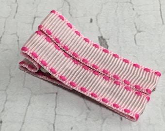 Baby Hair Clips - Light Pink Hot Pink Saddle Trim - Simple Alligator Hair Clip Set - Baby, Girl, Toddler, Children