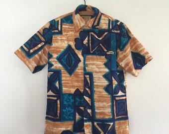 Vintage 60's Barkcloth Hawaiian Shirt / Polynesian Bazaar Tiki Mens Shirt S
