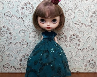 Teal Embroidered Blythe Dress and Crinoline Set | Pullip Dress