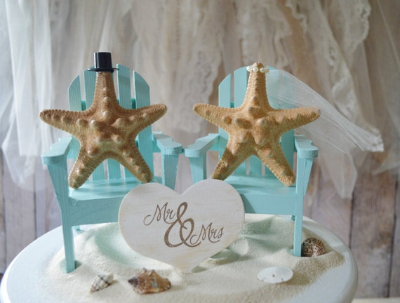 Beach-wedding-cake topper-destination-tropical-Adirondack-chairs-Mr and Mrs-bride-groom-custom-miniature-small chairs-starfish-beach cake