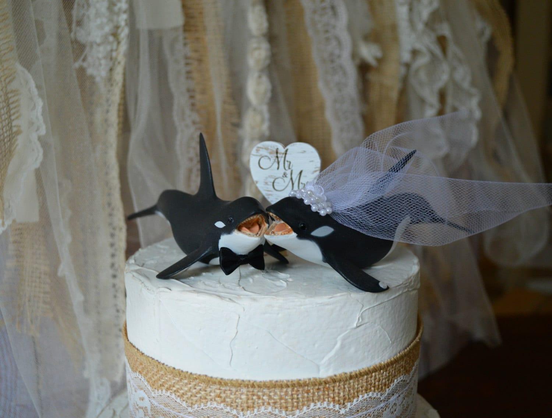 Orca Killer Whale Sea World Themed Wedding Cake Topper Beach