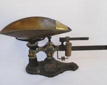 Ohaus Scale Brass Pan Antique Vintage 2 Kilo Capacity, Seedburo Co. Chicago, Apothecary Pharmaceutical, Grain Seed, Kitchen Man Cave Display