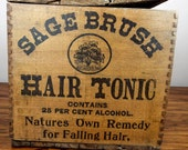 Antique 1907 Sage Brush Hair Tonic Wood Box and 12 Amethyst Bottles, Unique Purple Glass Vintage Advertising Primitive Home Decoration Idea