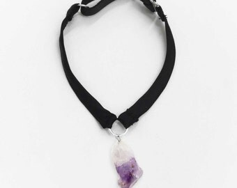 New Moon CRYSTAL Silk Choker (clear quartz point, amethyst, OR tumbled rose quartz) | Adjustable & comfortable! | Black Silk