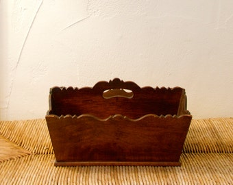 vintage handmade country wooden basket silverware holder