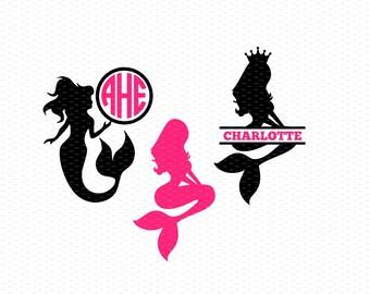 Mermaid Svg, Mermaid Monogram Svg, Mermaid Svg Files, Split Mermaid Svg, Split Monogram Svg, Circle Monogram Svg, Nautical Svg