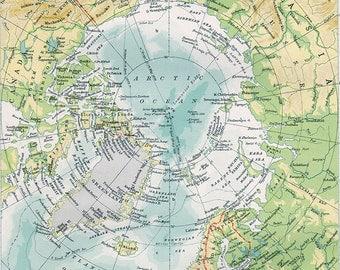 Vintage Map Arctic Ocean Alaska Canada Germany Greenland ORIGINAL 1949