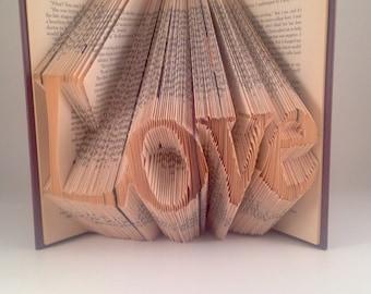 Love Folded book - Book Folding - Book Origami - Wedding/Anniversary Gift