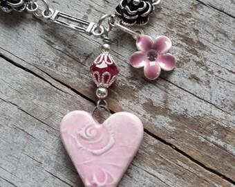 Heart Bracelet Pink Bracelet Charm Bracelet Silver Links Bracelet Rose Bracelet Romantic Love
