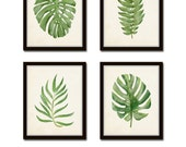 Watercolor Tropical Leaf Set No. 2, Giclee, Canvas Art, Botanical Print, Botanical Print Set, Coastal Art, Tropical Leaves, Prints, Posters