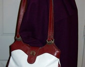 Vintage Ladies White & Oxblood Hand Made Leather Shoulder Bag by Etienne Aigner Only 20 USD