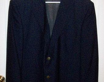 Vintage Men's Black Wool Sport Coat Blazer by Oscar De La Renta Size 44 S Only 14 USD