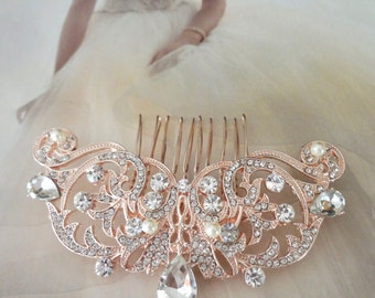 Rose gold hair comb ~ Brides hair comb ~ Teardrop rhinestone, hair accessories ~ Crystal hair comb ~ Hair Jewelry ~ Wedding accessories
