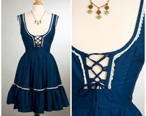 1970's Navy Blue & White Folk Drindl Dress. XS.