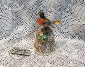 Vintage Towle Bone China Robin Bell with Original Tags MINT Condition