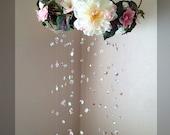 Crystal Nursery Mobile - White Flower  Rainbow Baby Girl Nursery