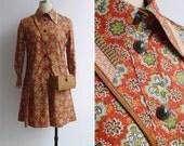 20% Off (Code In Shop) - Vintage 70's Red Batik Lotus Floral Print Preppy Dropwaist Dress S or M