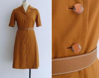 15% SALE (Code In Shop) - Vintage 70's 'Pumpkin Spice' Polyester Knit Shirt Dress M or L