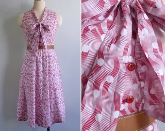 """10% Sale Code """"MAY10"""" - Vintage 80's 'Making Waves' Op Art Dot Red & White Pussy Bow Dress XS"""