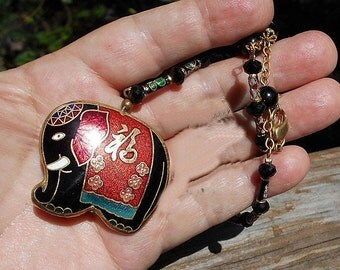 SALE Cloisonne ELEPHANT Necklace on Tiny Cloisonne , Faceted Black Glass Crystal Rondelles 20 in. Necklace.  oNLY 19.90.