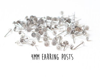 100 pieces - 50 pair - 4mm - Stainless Steel - Flat Pad - Earring Posts