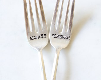 Forever and Always Wedding Cake Fork Set. Hand Stamped Couples Gift. Wedding Gift. For Such A Time Designs.