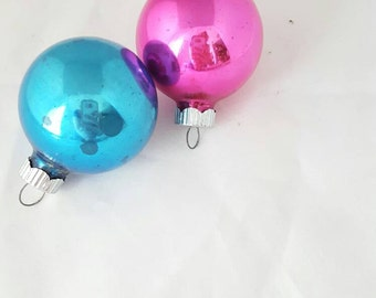 Vintage Shiny Brite Glass Ornaments Pink and Blue