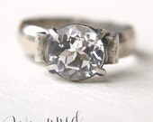 RESERVED FOR BETH White Topaz Ring in Sterling Silver Size 6