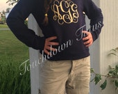Monogrammed girls sweatshirt with longer back