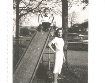Vintage Polaroid Photo - Black and White Snapshot - Cute Mom and Son at the Playground - Bow Tie - Slide - Found Vernacular Photograph