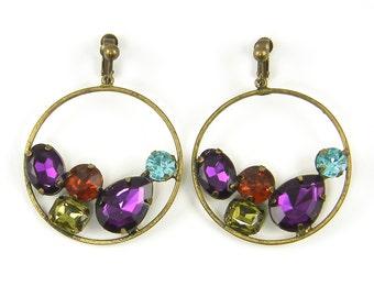 Rhinestone Clip on Earrings, Large Hoop Antique Brass Purple Red Aqua Green Dangle Clip Earrings |EC2-29