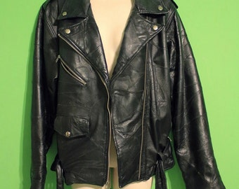 Vintage 80s Womens Black Leather Biker Jacket Eagle Flag Gothic Rocker