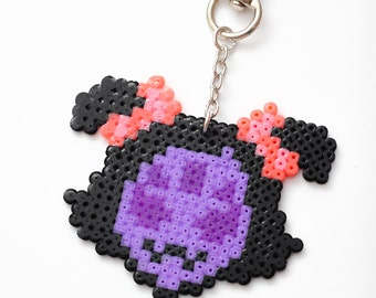 Undertale Muffet keychain - video game jewelry, perler beads, gaming